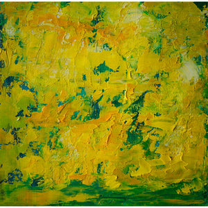 Barcelona 8, oil on canvas on panel, 6x6x1.5, abstract, floral, yellow, gold, green, texture, fresh, bright