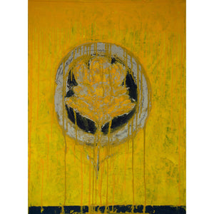 Bee and Flower are One, oil on cradled wooden panel, 24x18x1.5, yellow, enso