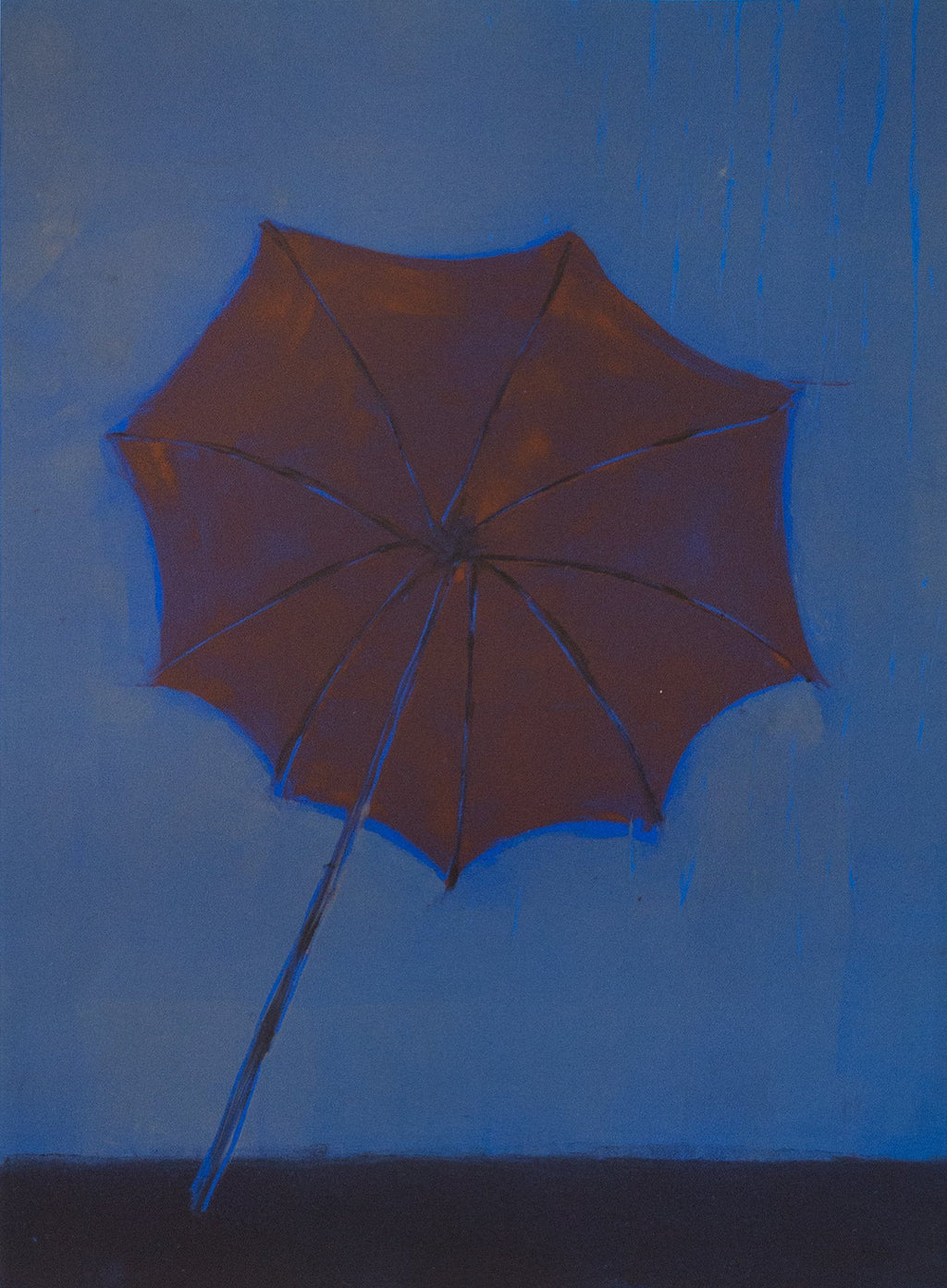 Blown Away, original monotype print, red umbrella, blue background