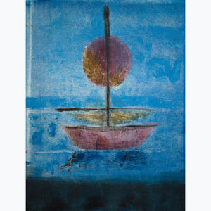 Low Sun, Still Waters, boat, sun, mast, red, orange, blue, black, monotype, texture