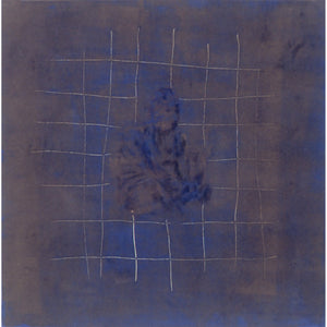 Buddha, floating in Indra's net, blue, brown, gold, abstract, monotype