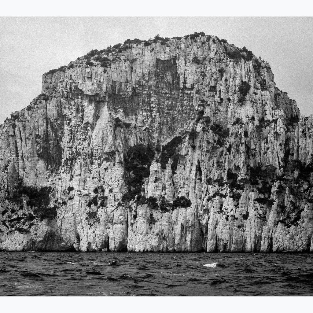 Cliff at Sea, black and white, rocky, trees, sea, archival print