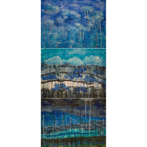 Clouds: Sky, Horizon, Valley triptych (54x18) - Norlynne Coar Fine Art