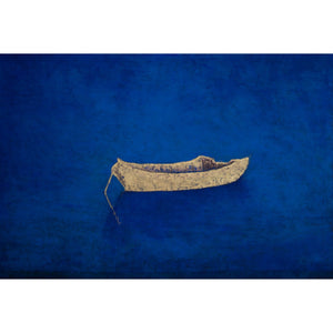 Dory on Blue, oil on canvas, 34x50; gold dory, blue ground