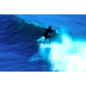 Down the Line, photograph, surfer in motion on a wave in Santa Cruz, CA.
