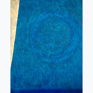 on the edge of space, 48x37 oil on canvas, blue, enso, gold, aqua