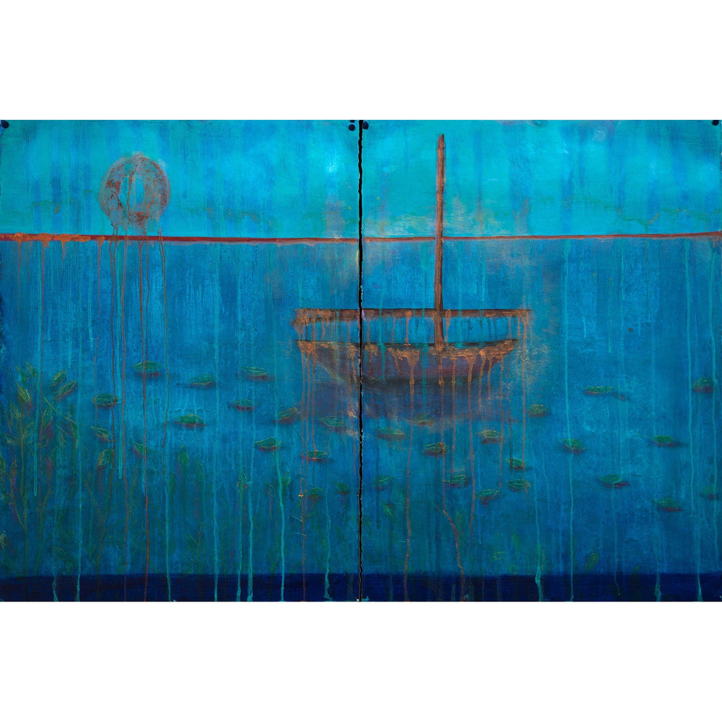 "Empty Boat, Drifting Leaves, Oil on Paper (30""x44"") - Norlynne Coar Fine Art"