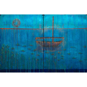Empty Boat,  Drifting  Leaves, oil on Arches oil paper, 30x44, blue, aqua, orange, copper, green