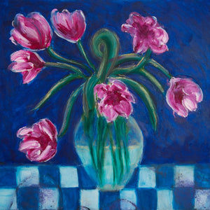 "ART IN THE TIME OF CORONA: FLOWERS IN A VASE (14""x14"") - Norlynne Coar Fine Art"