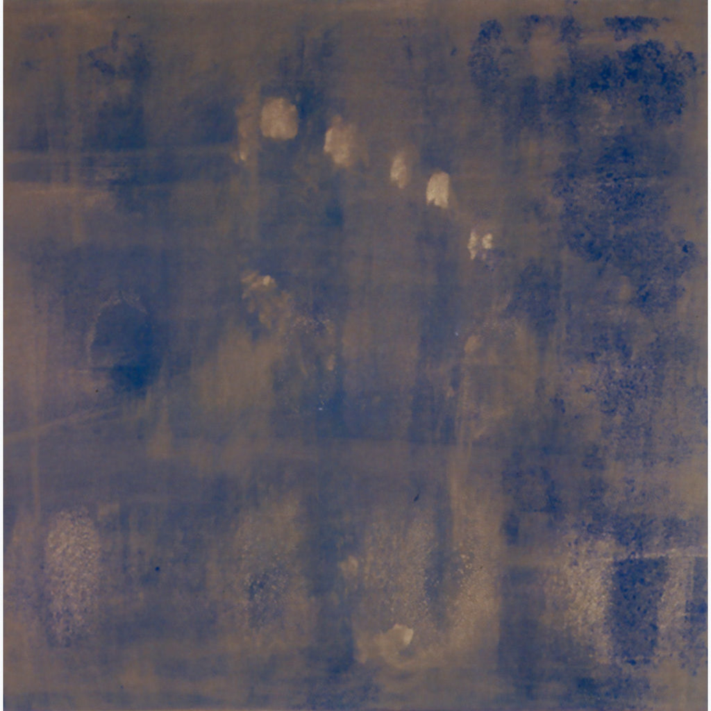 Footprint, Buddha, blue, gold, monotype, abstract