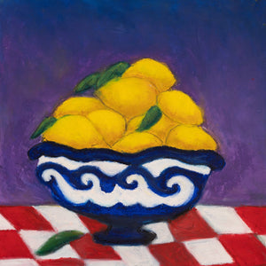 "ART IN THE TIME OF CORONA: LEMONS IN A BOWL (14""x14"") - Norlynne Coar Fine Art"
