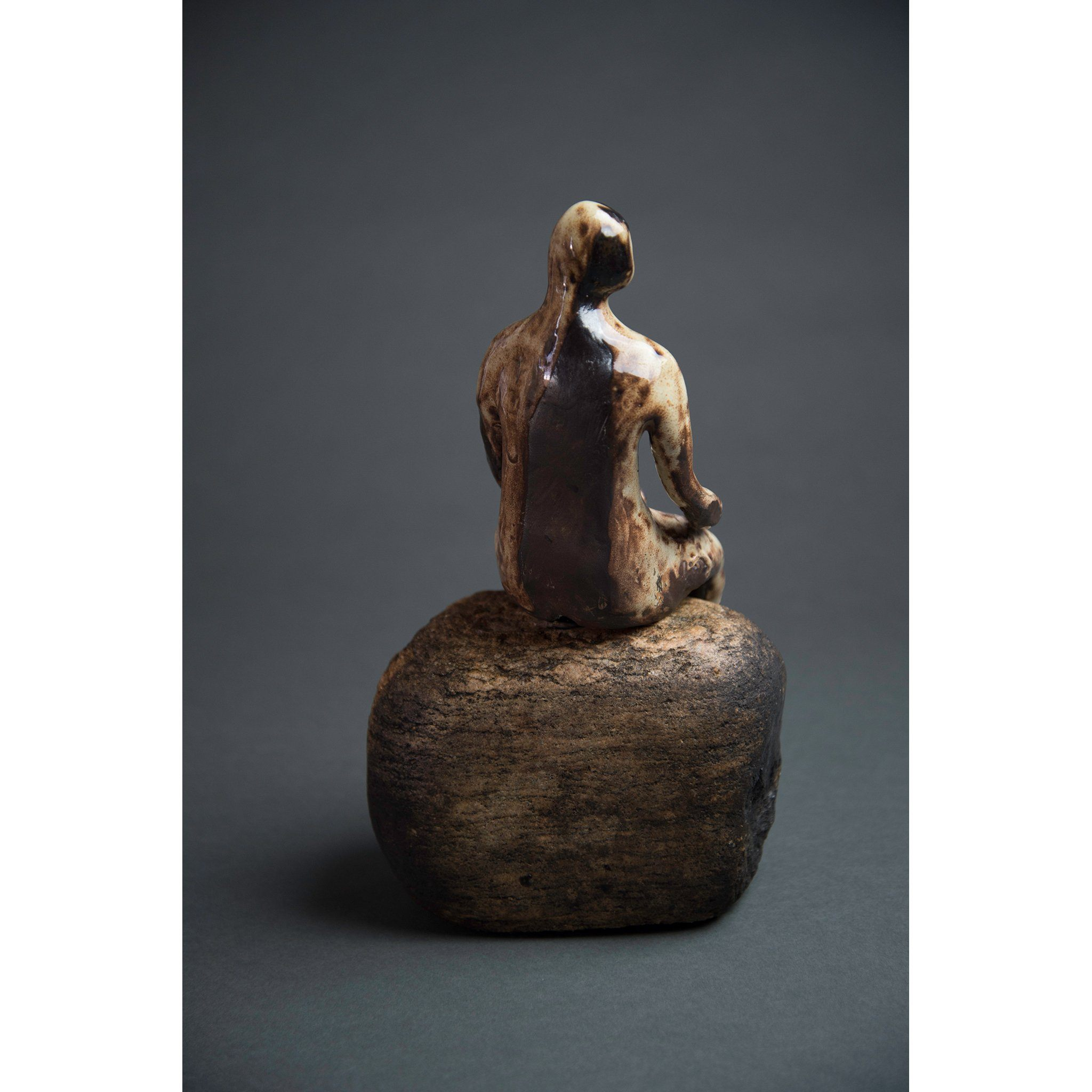 Man on Rock 1, Clay Sculpture and Stone (10.75x6x5) - Norlynne Coar Fine Art