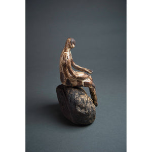 Man on Rock 2,  New Mexico Chocolate clay, Shino, glaze and river rock, 10.75x6x5, side 2.