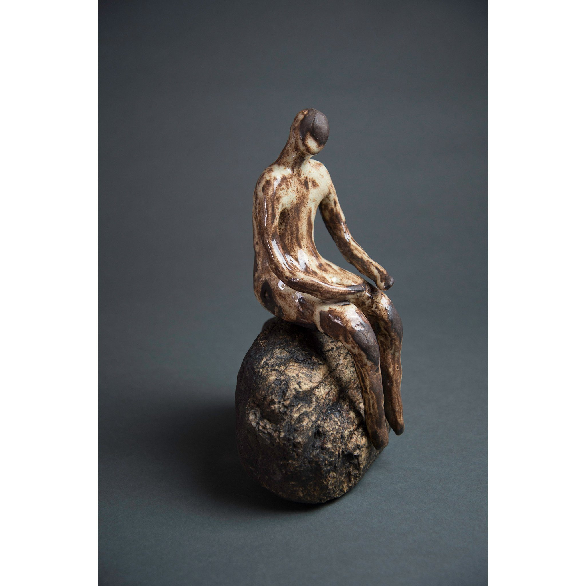 Man on Rock 2,  New Mexico Chocolate clay, Shino, glaze and river rock, 10.75x6x5, view 3.