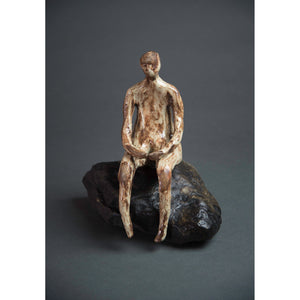 Man on Rock 3  New Mexico Chocolate clay, Shino, glaze and river rock, 10.25x10x5, front.