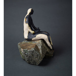 "Man on Rock 19-4 (9.5""x9""x11.5"") - Norlynne Coar Fine Art"