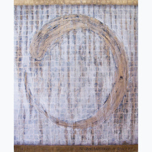 Meditation on Space 2, oil on canvas, 60x48x1.5, gold, black, white, grid, enso