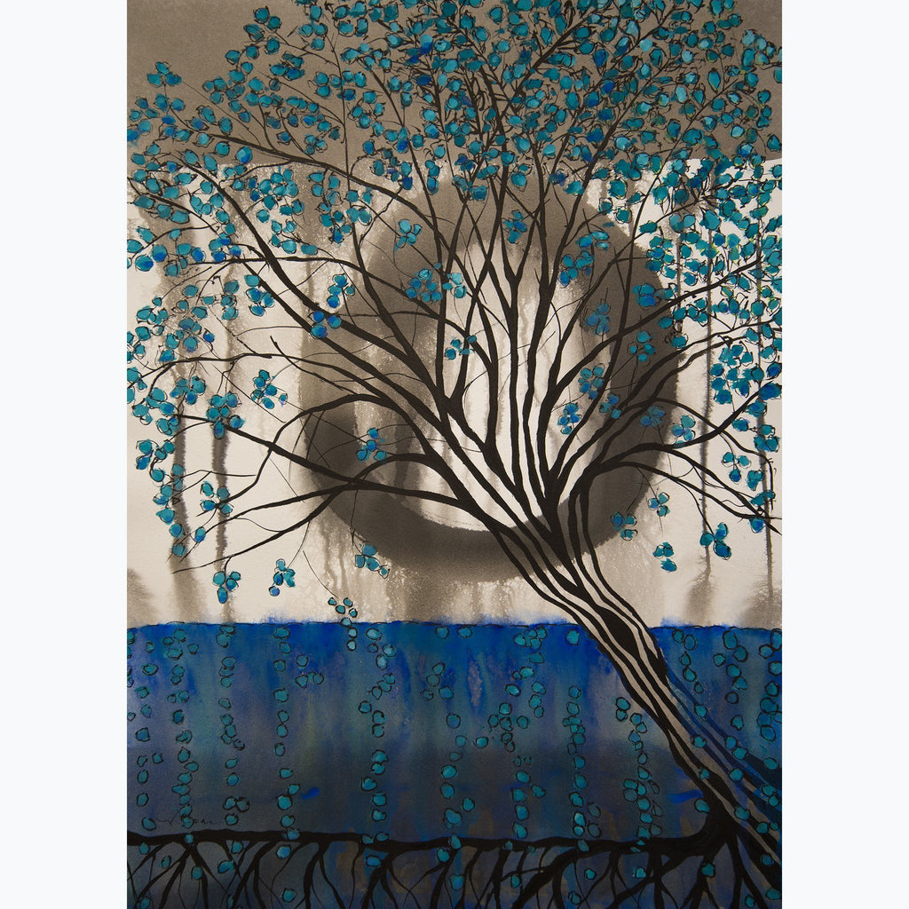 Meditation on Trees, enso, tree, leaves, ink and watercolor on paper, blue, aqua, black, roots