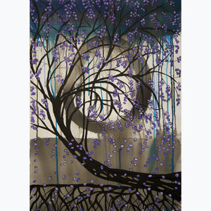 Meditation on Trees 2, ink and watercolor on paper, lavender, black, gray, white, tree, root, leaves