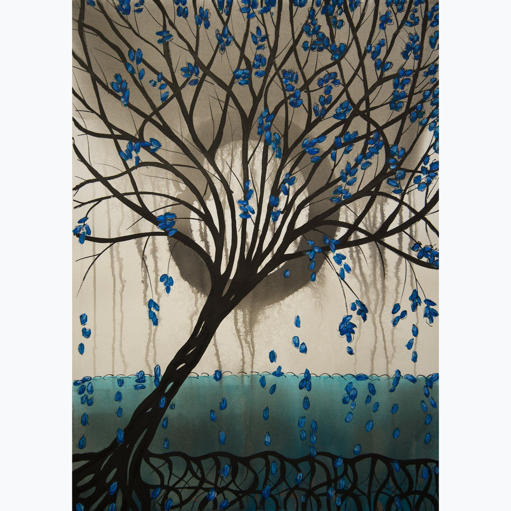 Meditation on Treess 3, ink and watercolor on paper, aqua, gray, black, white, enso, tree, leaves, roots