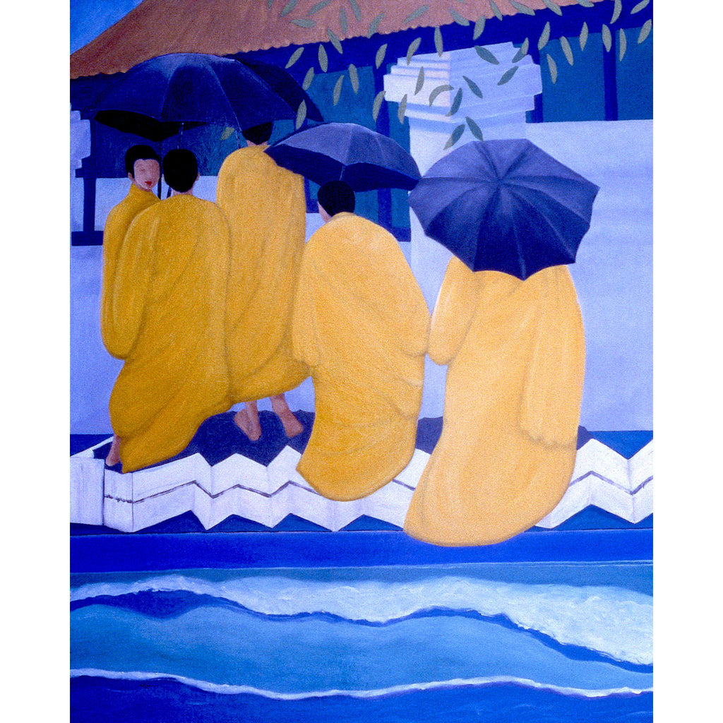 Monks with Umbrellas, Day (60x48) - Norlynne Coar Fine Art