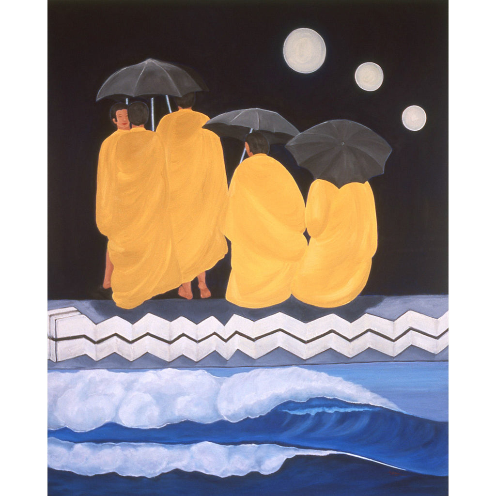 MONKS WITH UMBRELLAS, NIGHT (60x48) - Norlynne Coar Fine Art