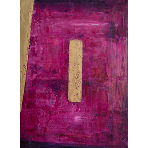 Obscure Horizon 8, oil on canvas, 12x9. Magenta, mauve, alizarin crimson, gold abstract
