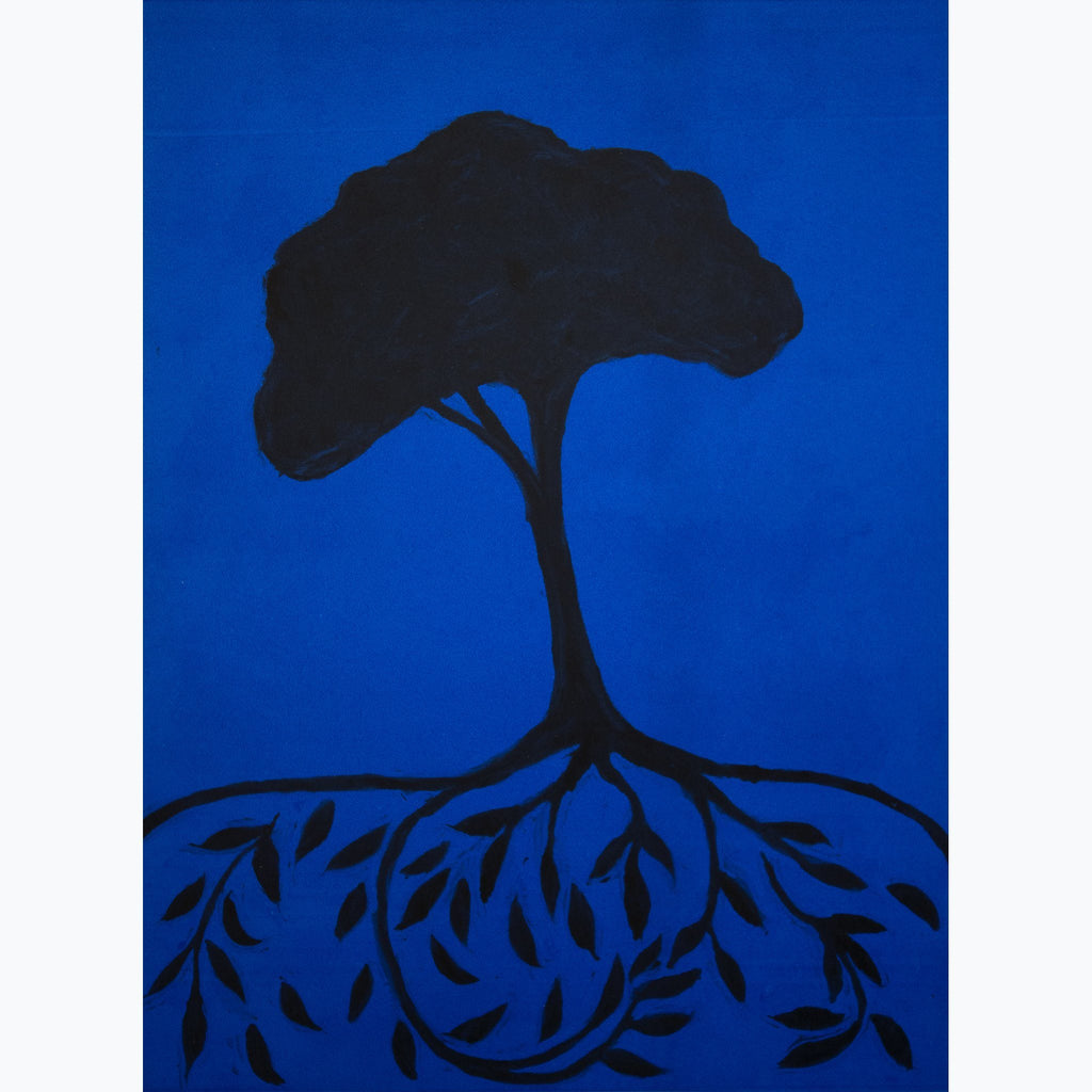 Tree of Life on Blue, black, blue, monotype, roots with leaves, tree