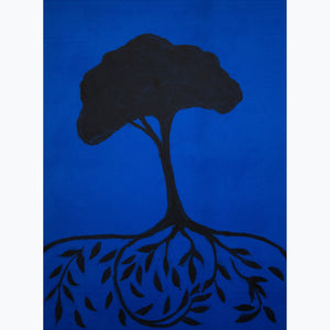 "Tree of Life on Blue (24""x18"") - Norlynne Coar Fine Art"