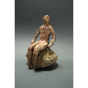 Man on Rock  Black Mountain clay, Shino glaze and beach rock, 10x7x5.5. Front