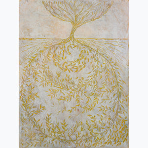 Palimpsest III, oil on paper, white, gold, texture, deep, leaves in the roots, branches, delicate