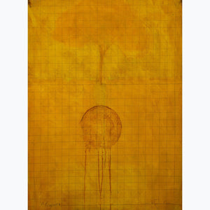 Palimpsest II, oil on paper, gold, orange, grid, enso, tree,