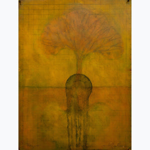 Paliimpsest, oil on paper, tree, brances, enso, grid, yellow, orange, gold, black