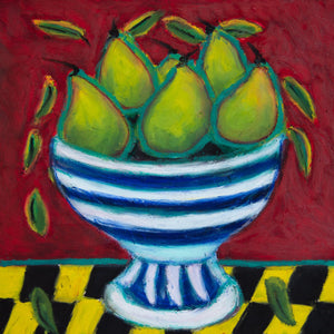 ART IN THE TIME OF CORONA: PEARS IN A BOWL (14x14) - Norlynne Coar Fine Art