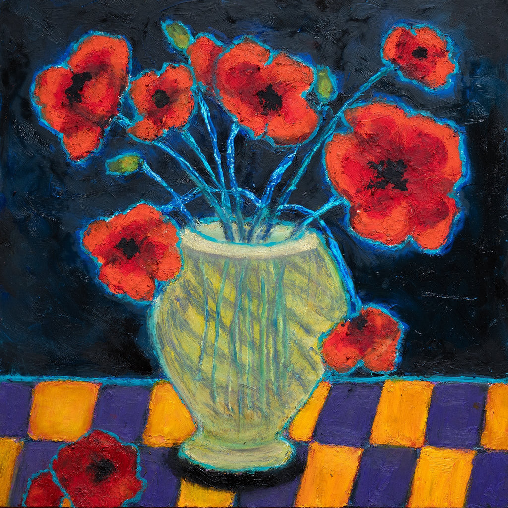 ART IN THE TIME OF CORONA: POPPIES IN A VASE (12x12) - Norlynne Coar Fine Art