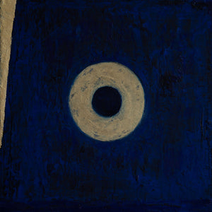 Portal 5, oil on canvas 12x12x1.5, gold, indigo, black, cobalt and ultramine blues