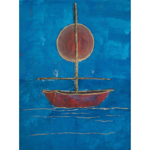 Red Sun, Red Boat, Blue Water, monotype with hand painting 24x18, titled and signed below image