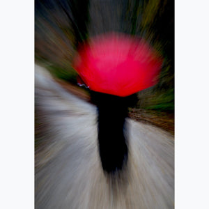 "Woman with Red Umbrella: Country Road, Custom Print (45""x30"", 36""x24"", 24""x16"") - Norlynne Coar Fine Art"