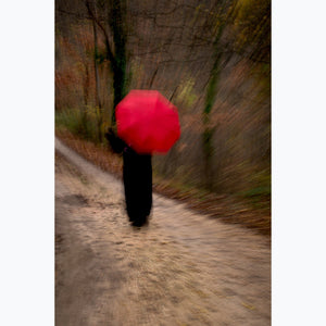 Woman with Red Umbrella: Country Road, in the woods