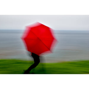 "Woman with Red Umbrella: Stepping into the Future, Custom Print (16""x24"", 24""x36"", 30""x45"") - Norlynne Coar Fine Art"