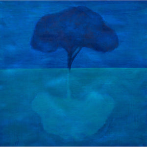 Reflection, blue, aqua, tree, reflection, water, sky, abstract, oil on canvas