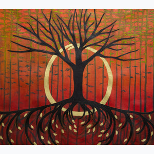 Tree of Life: Renaissance, tree, branches, roots with gold leaves, enso, orange, red, black, green, oil on canvas