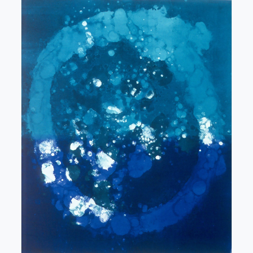 Spirits in the Sea, energy, circle, aqua, blue, white, abstract, monotype