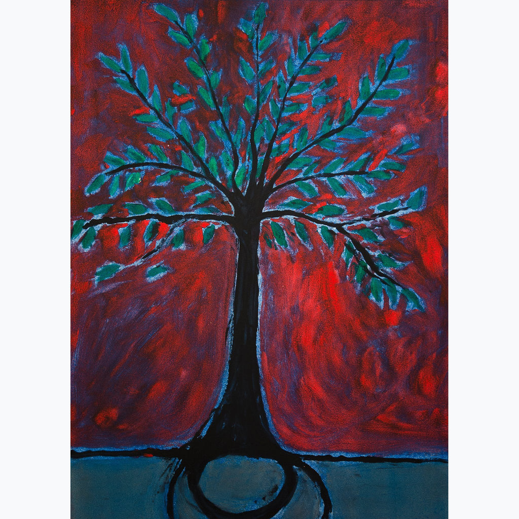 Tree of Life, green, red, black, leaves, bright, monotype