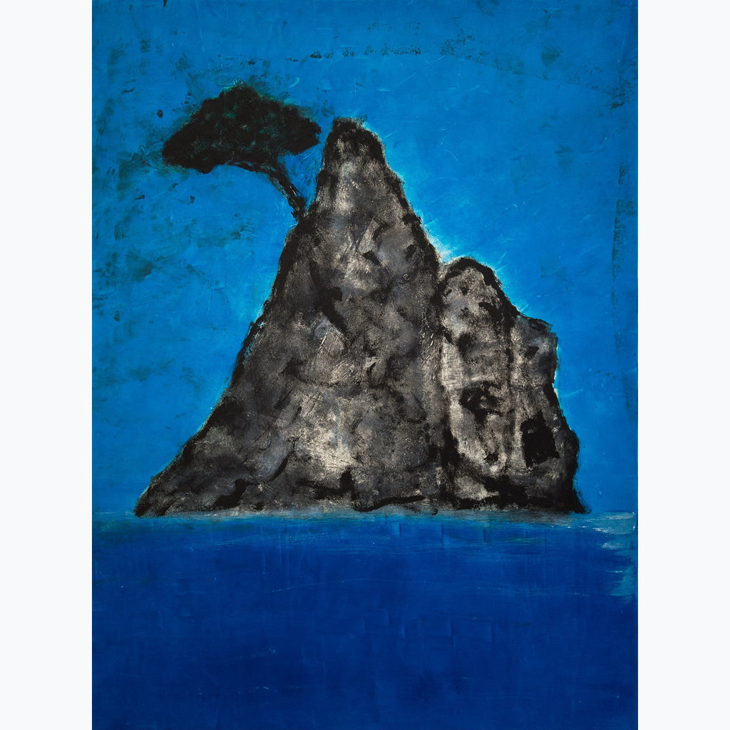 Tree on the Calanque, cliff, tree, sea, sky, aqua, blue, black, monotype