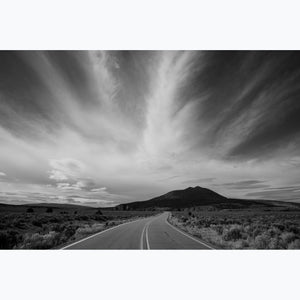 road to sky of striated clouds, hill with nibs, new mexico, wild, black and white, archival print, landscape