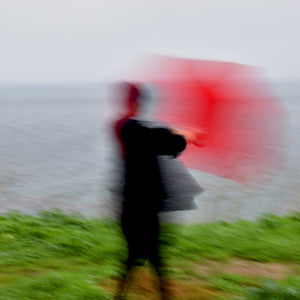 "Woman with Red Umbrella in the Wind (20""x20"", 30""x30"") - Norlynne Coar Fine Art"