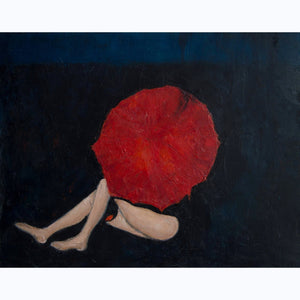 Woman Under a Red Umbrella, red, black, blue, stylized, figurative