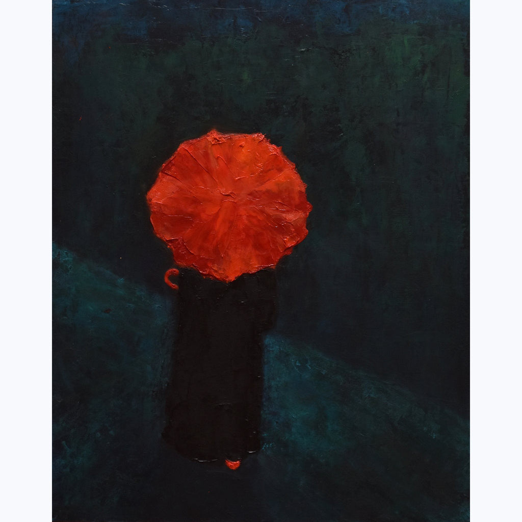 Woman with Red Umbrella, On the Road, oil on panel, 14x11x.6, red, black, blue, teal, green, textured