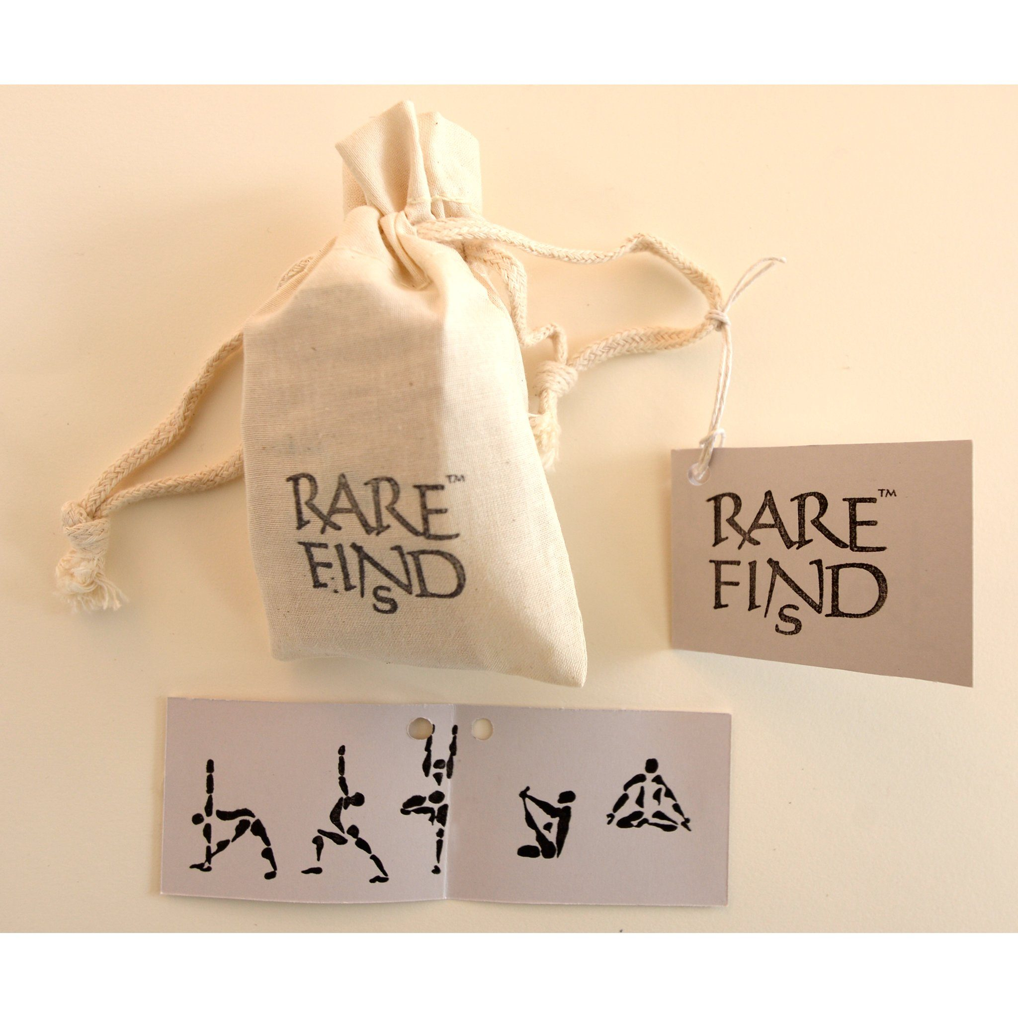customer rubber stamps with yoga posture designs and muslin bag